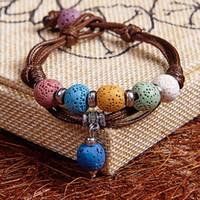 Wholesale Coloured Beads Bracelet - Lava Rock Beads Charms Bracelets Anti-fatigue Natural Volcanic Rock Charm Bracelets For Women Colours Beads Bracelets