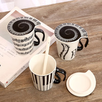 Wholesale Keyboard Coffee Tea Mug Cup - Creative Ceramic Mug Personality Music Note Coffee Cup Stave Milk Cups Home Office Tea Mugs with Handgrip Keyboard Lid Spoon