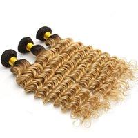koyu köklü malezya tüyü toptan satış-# 1B / 27 Koyu Kökleri Bal Sarışın Derin Dalga Saç Demetleri Ombre 1B Bal Sarışın Iki Ton Malezya Dalgalı Saç Atkı 300 G / grup