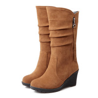 Discount discount-discount - Wholesale-2016 Big size 34-43 high quality women shoes new arrivals mid calf wedges boots flock autumn Spring woman boots