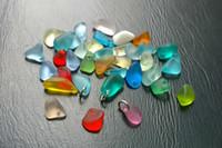 ingrosso braccialetti di vetro art-Lotto in serie Mini Beach Sea Glass forato perline Bracciale gioielli Charm Orecchino Making Crafted ~ Art Freeform Nugget CON JUMP JUMP RING JCT ECO®