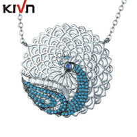 Wholesale Necklace Peacock - KIVN Fashion Jewelry Animal Peacock CZ Cubic Zirconia Womens Girls Bridal Wedding Pendant Necklaces Christmas Birthday Gifts