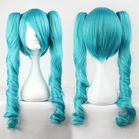 Wholesale Miku Hatsune Wig Curly - 100% Brand New High Quality Fashion Picture wigs>>Vocaloid Hatsune Miku Two Tone Curly Ponytails blue green Full Cosplay party Wig