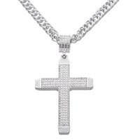 Wholesale Large Rhinestone Cross Necklace - Free Shipping Large Crystal Cross Pendant Necklace Hip Hop Rap Punk Rock 36inch long Chain Jewelry
