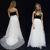 Wholesale Cheap Gothic Tops - New Arrival Black and White Wedding Dress Unique Cheap Gothic Two Tone Colors Bridal Gowns Sweetheart Ruched Top Sweep Train Sleeveless 2016