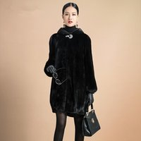 Wholesale Raccon Fur Collar - Fur Coat Female Outerwear Top Raccon Dog Fur Jacket With Fur Collar Long Design Women 2016 Winter Overcoat Thick Warm Size S-6XL