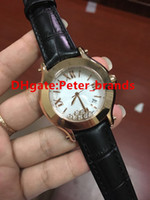 Wholesale gold plated ladies watches - High quality women fashion wristwatch quartz movement rose gold plating lady watch size 38mm black leather strap diamonds in glass watches