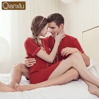 Wholesale Couples Onesie Pajamas - Wholesale-Qianxiu 2016 New Brand Solid Lovers cotton Pajamas Set Fashion Home Apparel Couples Nightwear Pajamas summer Pajamas Set onesie