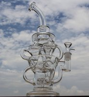 Wholesale D Brand - FTK style big size bong new design hollow out glass recycler glass bong D&K brand water pipe with tyre perc amazing vortex