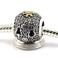 Wholesale Authentic Pandora 14k Gold - Christmas Tree and 14K Gold Snow Man Black Friday 100% 925 Sterling Silver Beads Fit Pandora Charms Bracelet Authentic DIY Fashion Jewelry