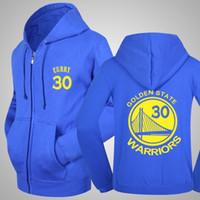 Wholesale Men S Zip Jackets - New Stephen Curry #30 Zip-up hoodie Jacket Cotton Sweatshirt