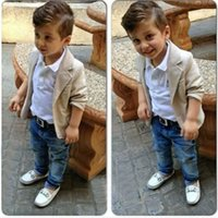 Wholesale Jean Jackets 5t - 2016 Toddler Boys Clothing Set Casual Children Boy Gentleman Suit Jacket+T-shirt+Denim Jean Pants 3pcs Clothing Sets CL0702