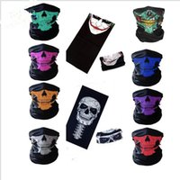 Wholesale skeleton face scarf - Halloween Skull Face Masks Skeleton Magic Skull Scarves Outdoor Sport Cap Neck Snood Ghost Headband Cycling Motorcycle Cosplay mask KKA3159