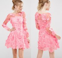 Wholesale Short Overlay Dress Prom - 3D Floral Lace Applique Overlay Short Prom Dresses Pink Long Sleeve Illusion Boat neckline Scalloped hem A-line Mini Party Dress