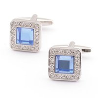 Men's oxidation copper - brand new sapphire cufflink high quality anti oxidation copper blue design wholsale