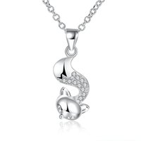 Wholesale cute sweaters for women - Cubic Zirconia Necklace Silver Plated Animal Design Cute Fox Shaped Pendant Necklace Lovely Trendy Jewelry for Girl Women Long Sweater Chain