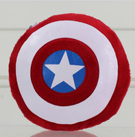 Wholesale Captain America Shield Pillow - The Avengers Movie Captain America Attack Shield Plush Toys keychain hanging drop Cushion Pillow Toy 12cm EMS
