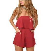 Wholesale Women Red Romper Jumpsuit - 2016061402 Sexy off shoulder ruffles elegant jumpsuit romper Women white chiffon overalls Summer style beach short playsuit