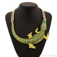Wholesale Necklace For Teen - Fashion Jewelry Necklaces Accessoires for Women  Teen Girls for Decoration Crocodile Shape Necklace With Acrylic Rhinestone X303