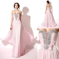 Wholesale One Shoulder Sweetheart Homecoming Dress - pink prom dresses 2017 long homecoming dresses beaded evening gowns sweetheart neckline backless lace-up floor length party dresses