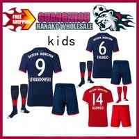 Wholesale Red Soccer Socks Youth - 2017 2018 Kids Munichs kits+socks soccer jersey 17 18 youth VIDAL LEWANDOWSKI MULLER ROBBEN home football uniforms ALABA LAHM child shirt