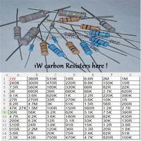 Wholesale 1w resistors - Wholesale- Free ship with track 500pcs 1R DIP Resistors carbon Resisters 1W 1ohm 5% Carbon Film Resistor other value pls check page