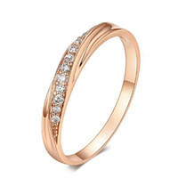 Wholesale Tension Lover - Hot Sale Top Quality Simple Cubic Zirconia Lovers Rose Gold Color Wedding Ring Jewelry Full Sizes