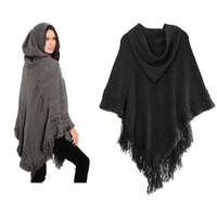 Wholesale Dot Cape - 2017 Cape Pashmina New Fashion hooded Poncho cawl Scarf Women Warm Winter Knit Cloak Shawls Scarves Shawl Wrap