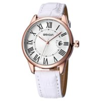 WEIQIN Magnifying Glass Date Montres de Mode Femmes Rose Gold Case Montre bracelet en cuir Ladies Roma Index reloje mujer relogios