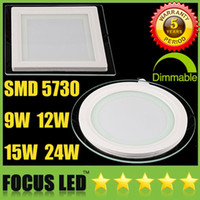 Wholesale 88 Wholesale - SMD5730 9W 12W 15W 24W Dimmable LED Panel Lights 110-240V CRI>88 Warm Cool Natural White 4500K Fixture Recessed Ceiling Downlight CSA SAA UL