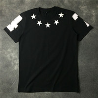 Wholesale Numbers Stars - 2017 summer embroidery stars number 4 7 print t-shirt men short sleeve cotton tee o-neck casual t shirt men's clothing