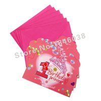 Atacado - 6pcs Envelop Shape 1st Pretty Girl Theme Party Invitation Card Kids Baby Birthday / Festival Party Card Decoração de suprimentos