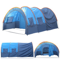 Wholesale- (Ship From Russia China) 8-10 personnes Installation rapide 2 Room 1 Hall 5 Window Waterproof Outdoor Garden Fishing Camping Tent