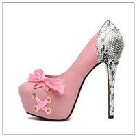 Wholesale Thin High Heels Laces - Round Toe Fashion Wedding Lace-up Bow Thin Heel High Heels Shoes Sexy Women Pumps Plat form Women's Shoe Suede Side Tie Ribbons Wedding Shoe