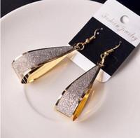 ohrringe großhandel-Neueste Schraubengeometrie lange Ohrringe Multi-Level Matt Blatt große Ohrringe haben wir drei Farben