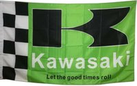 Wholesale Flags Banner Green - 3x5 feet Kawasaki Green Checkered Polyester Flag with 2 grommets Indoor Outdoor Banner