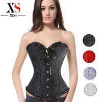 Wholesale Corsets For Plus Size Women - Wholesale-waist training cincher white corset lingerie steel boned corset plus size halloween costumes for women steampunk clothing