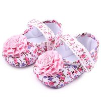 Wholesale Infant Girls Pink Dress Shoes - New Baby Girls Dress Shoes Big Pink Flower Knot on Floral Print Upper Lace Band Soft Sole Anti-slip Infant Walking Shoes