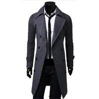 chaquetas de chaquetón al por mayor-Fall-Men Chaqueta larga de invierno para hombre Chaqueta para hombre Chal macho / negro / gris Abrigo de lana Manteau MC056
