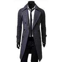 erkek kış uzun palto yün toptan satış-Güz-Erkekler Uzun Peacoat Kış Aşağı Ceket Erkek Ceket Erkek Deve / siyah / gri Yün Palto Manteau MC056