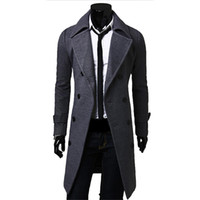 herren wollmäntel grau großhandel-Herbst-Männer lange Peacoat Winter Daunenjacke Herren Mantel männlich Camel / schwarz / grau Wolle Mantel Manteau MC056