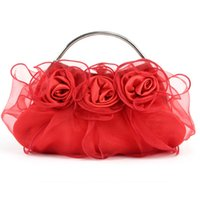 Handmade Rose Floral Hand bag Ruffles Organza Wedding Bridal Prom Evening Party Bolsa de embreagem Lady Purse Peach Red Silver Purple Off White