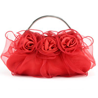 Handmade Rose Sac à main floral Ruffles Organza Wedding Bridal Prom Soirée Soirée Sac à main d'embrayage Lady Purse Peach Red Silver Purple Off White