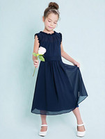 Wholesale Dark Red Flower Girl Dresses - Custom Made Dark Navy Junior Bridesmaid Dresses Cheap Column Jewel Sleeveless A-Line Ruffles Zipper Back 2016 Flower Girl Dresses