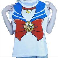 Wholesale Sailor Girl Cosplay - 2016 new Hot Sailor moon harajuku t shirt women cosplay costume top kawaii fake sailor t shirts girl new Free Shipping
