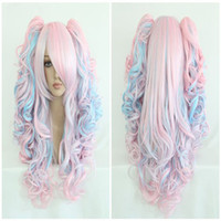Wholesale Pink Ponytail Wig Long - Fashion 70cm Long Blue Mixed Pink Wavy Ponytails High Quality Synthetic Lolita Party Cosplay Wig ePacket Free Shipping