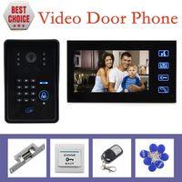 Wholesale Video Intercom Keypad Systems - Strike Lock 7 Inch Monitor Video Door Phone Intercom System with Remote Control IR Keypad RFID Reader Weatherproof Cover Camera
