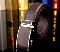 Wholesale Leather Belt Name Brands - designer brand name fashion Men's Business Waist Belts Automatic buckle Genuine Leather belts For Men 105-130 cm free shipping
