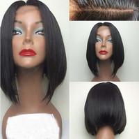 Wholesale big virgin black lady online - Hot short bob lace wigs A grade unprocessed virgin short human hair full lace front wigs density for black women