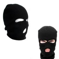 ingrosso cappello copre la faccia-Maschera a 3 fori Maschera Beanie Inverno caldo Sci Snowboard Cappello Cap usura Passamontagna Copri maschera viso pieno 500 pezzi OOA2985